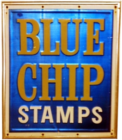 Blue Chip Stamps, outdoor tin sign, gold