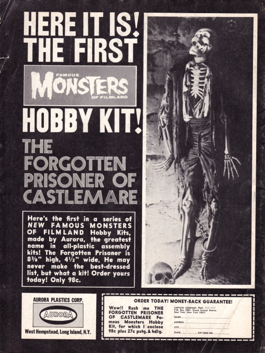 1967 Creepy Magazine ad, back cover, Aurora Monster Kit