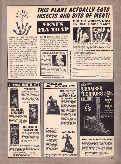1967 Creepy Magazine ad, inside, Aurora Monster Kits