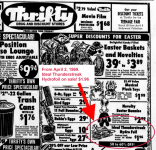 Ideal Thunderstreak, newspaper ad from Thrifty