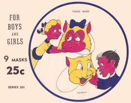 1948 Kiddies Coloring Cut-Out Masks, by Sid Davis